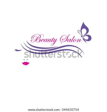 Beautiful woman face vector logo template for  beauty or hair salon, cosmetic procedures, spa center.