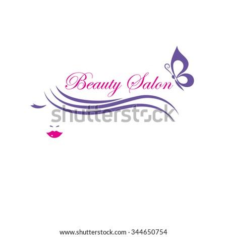 Beautiful woman face vector logo template for  hair salon, beauty salon, cosmetic procedures, spa center.