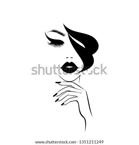 Beautiful woman face with black lips, lush eyelashes, hand with black manicure nails, black hair, stylish hairstyle. Beauty Logo. Nail art studio. Wallpaper background. Vector illustration.