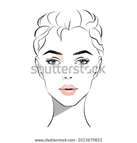 beautiful woman face with nude