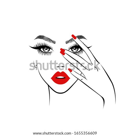 beautiful woman face with red