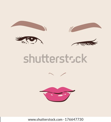 beautiful woman faces with red