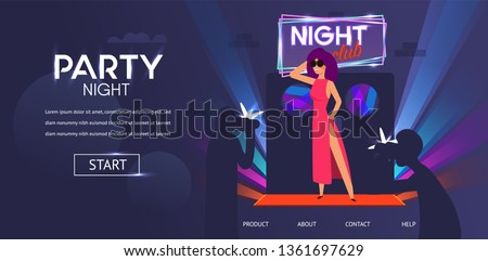 Beautiful Woman Famous Celebrity Posing near Night Club Door Entrance Red Carpet Man Photograper Paparazzi take Pictures Vector Illustration. Dance Club Music Concert Party Night Event