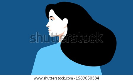beautiful woman in blue clothes