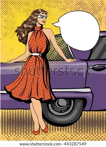 beautiful woman in dress stay