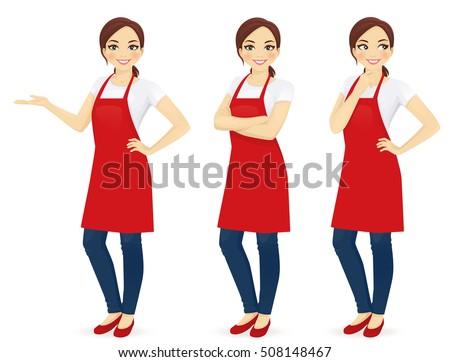 beautiful woman in red upron