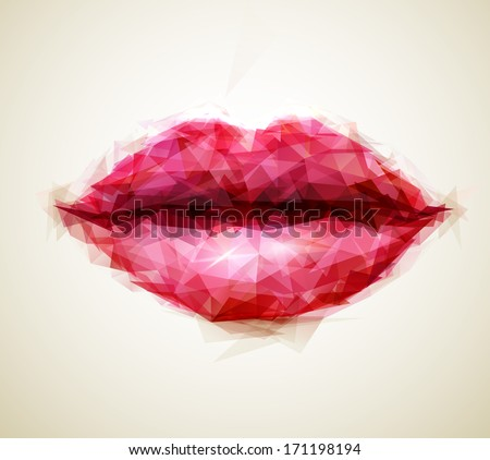 beautiful woman lips formed by