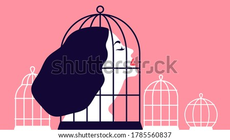 Beautiful woman locked in a cage. The concept of restricting women's rights. The concept of abusive relationships. Modern vector Illustration. Photo stock ©