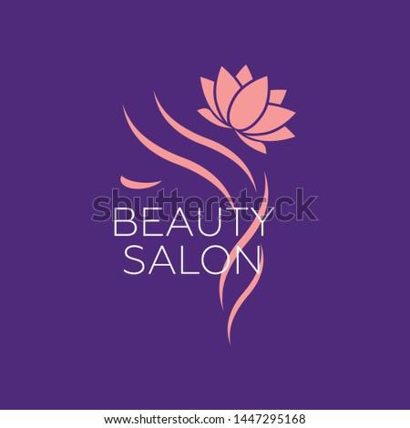 Beautiful woman logo template for hair salon, beauty salon, cosmetic. Background hair salon