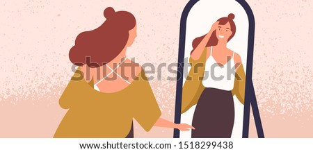 Beautiful woman looking at mirror flat vector illustration. Self acceptance and confidence concept. Young fashionable lady reflection in mirror. Attractive woman preening her hair cartoon character.