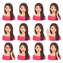 Beautiful woman portrait with different facial expressions set isolated on white background. Young girl smiling, surprised, happy, smiling, idea, kind, angry, greeting emotion face vector character.
