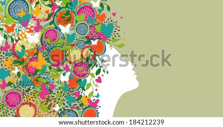 Beautiful woman profile hair design composition. Summer and springtime concept. Vector illustration layered for easy manipulation and custom coloring.