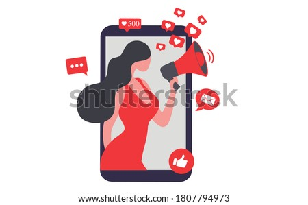 Beautiful woman shouting in loud speaker with social media icons. Influencer social media marketing concept and blogger  vector illustration Stock photo ©