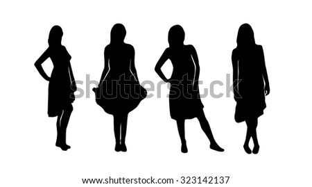 beautiful woman silhouette set