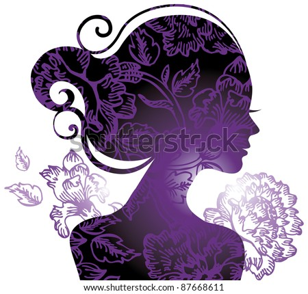 Beautiful woman silhouette with a flowers - stock vector