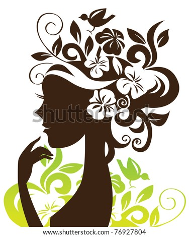 Beautiful woman silhouette with flowers and bird - stock vector