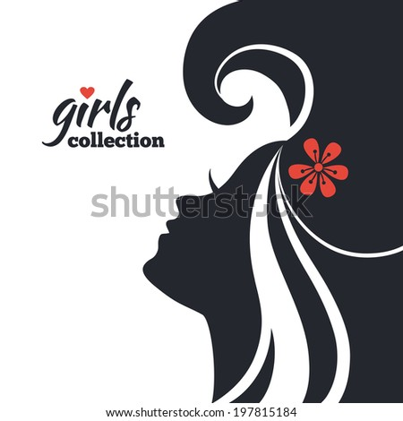 Beautiful Woman Silhouette With Flowers. Girls Collection ...
