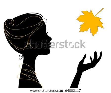 beautiful woman silhouette with leaf