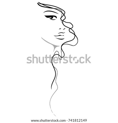 Beautiful woman vector drawing. Hairstyle and beauty icon Black and white illustration. Long, curly hair