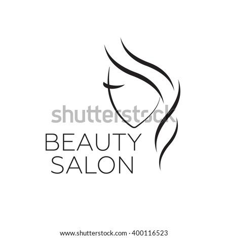 Beautiful woman vector logo template for hair salon, beauty salon, cosmetic procedures, spa center. vector logo template for hair salon