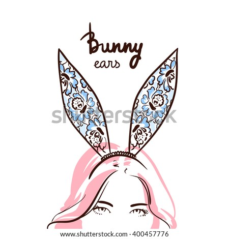 beautiful woman wearing bunny