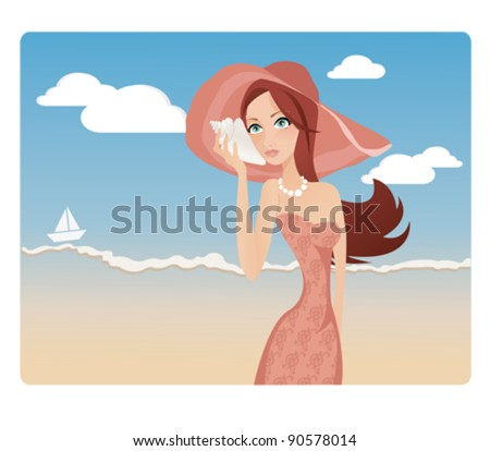 Beautiful woman while holding and listening to a conch shell