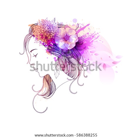 Beautiful woman with abstract colorful flowers.