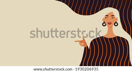 Beautiful woman with blonde hair pointing finger to the left. Modern illustration of Women's Day. 8th March. Template for cards, greetings, flyer, banner.