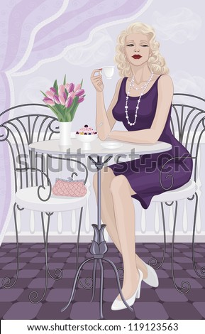 Beautiful woman with blonde hair sitting at a table and drinking coffee - stock vector