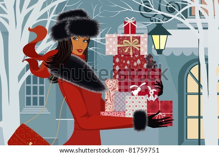 beautiful woman with christmas