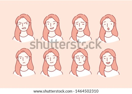 Beautiful woman with different facial expressions. Young girl smiling, happy, kind, unhappy face character. Set of woman emotions. Facial expression. Cartoon flat Design Isolated Vector Illustration