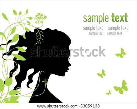 beautiful woman with flowers and butterflies in her long hair