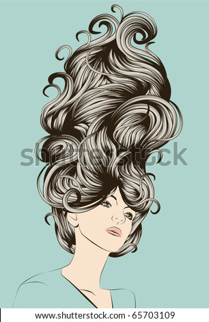 Beautiful woman with funky detailed hair