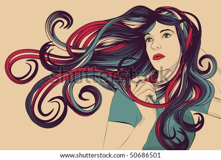 Beautiful woman with long colorful flowing hair