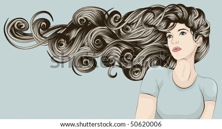 Beautiful woman with long curly hair blowing in the wind