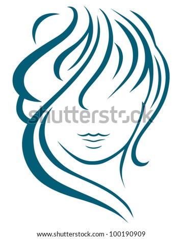 Beautiful woman with long hair - stock vector