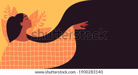 Beautiful woman with long hair makes a graceful gesture with her hand. Modern illustration of Women's Day. 8th March. Template for cards, greetings, flyer, banner.