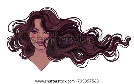 Beautiful woman with long wavy hair flowing in the wind. Hair salon concept. vector illustration isolated. Portrait of a young African American woman. Glamour Fashion concept.