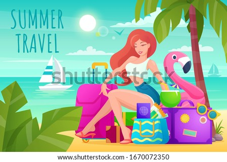 beautiful woman with luggage on