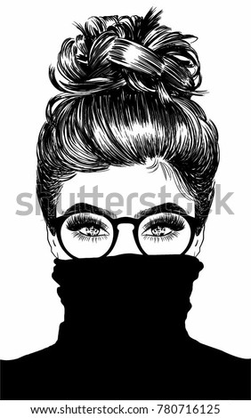 Beautiful Woman With Messy Bun Wearing Black Turtleneck