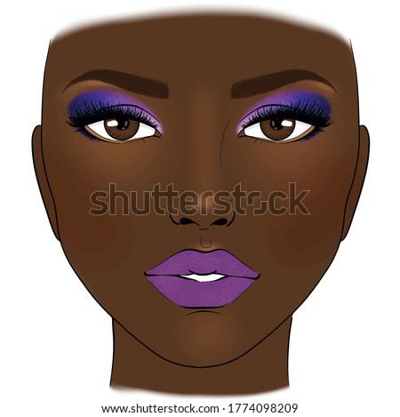 beautiful woman with purple