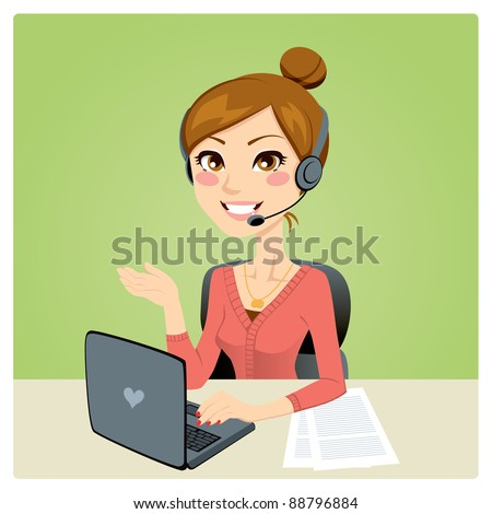 Beautiful woman working in a call center with laptop on desk and headset
