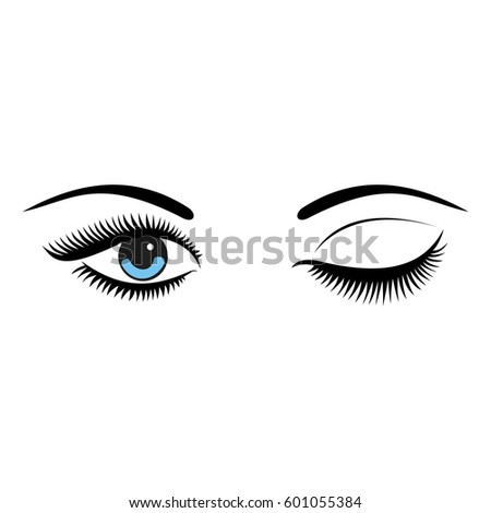 Beautiful women blue eyes with make up