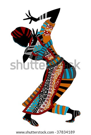 stock vector : beautiful women dance ethnic dance on a white background