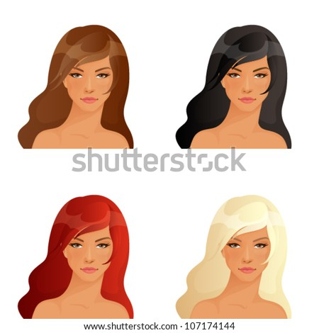 beautiful women showing different hair colors