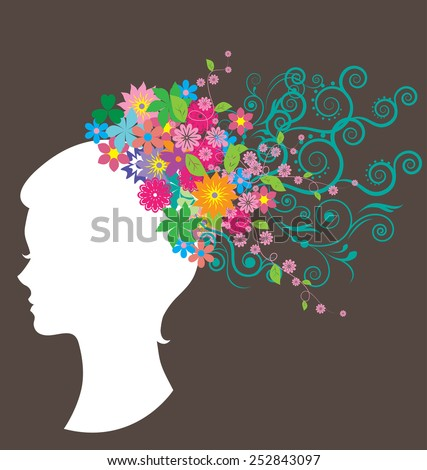 Beautiful women with hair made of flowers for women day card