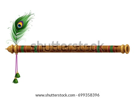 Beautiful wooden carved flute with peacock feather vector illustration ストックフォト ©