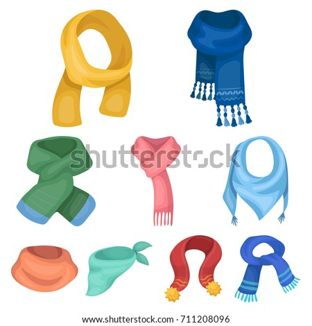 Beautiful woolen, silk-colored warm scarves of shawls. scarves and shawles icon in set collection on cartoon style vector symbol stock illustration.