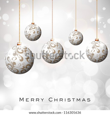 Beautiful Xmas balls on snowflakes background for Merry Christmas celebration. EPS 10.