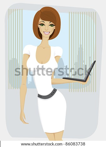 Beautiful yang woman in white dress with laptop standing at the office - stock vector